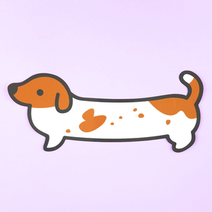 CLEARANCE Weenie Dog Sticker - Red Piebald (Short Coat) - Flea Circus Designs