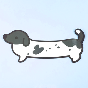CLEARANCE Weenie Dog Sticker - Black Piebald (Short Coat) - Flea Circus Designs