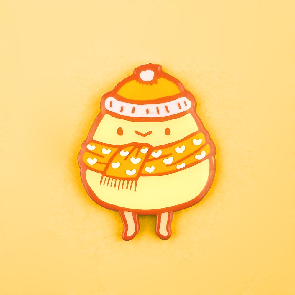 Cozy Caramel Eggboi Pin - Flea Circus Designs