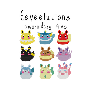 Eeveelutions (with and without outline) - Flea Circus Designs