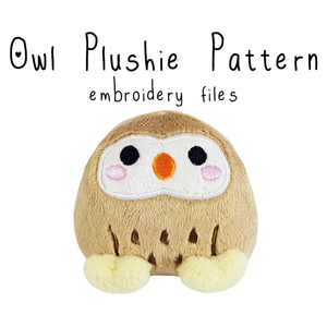 ITH Owl Plushie (in-the-hoop) - Flea Circus Designs