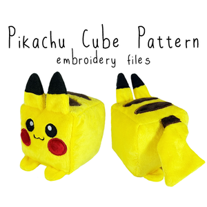 ITH Pikachu Cube Plushie (in-the-hoop) - Flea Circus Designs