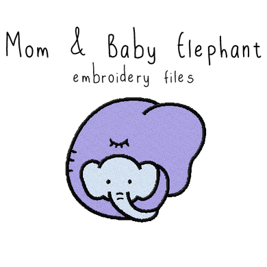 Mom and Baby Elephant - Flea Circus Designs
