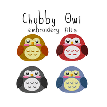 Chubby Owl (with and without outline) - Flea Circus Designs