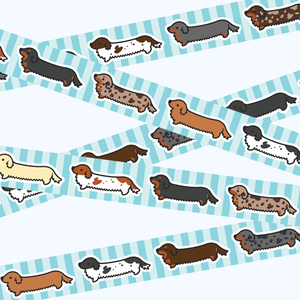 PRE-ORDER Long Coat Weenie Dog Washi Tape - Flea Circus Designs