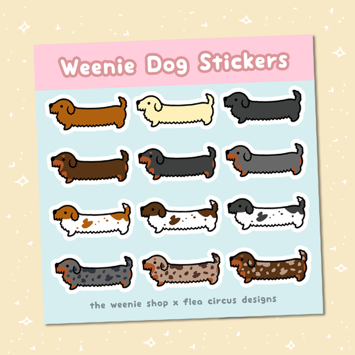 Weenie Dog Sticker Sheet (Wire Coats)