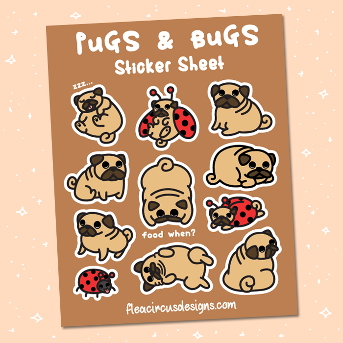 Pug Sticker Sheet - Flea Circus Designs