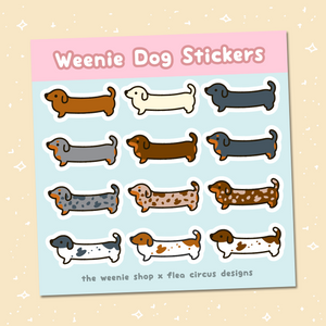 Weenie Dog Sticker Sheet (Short Coats) - Flea Circus Designs