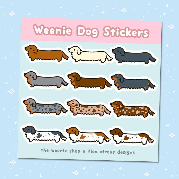 Weenie Dog Sticker Sheet (Long Coats) - Flea Circus Designs