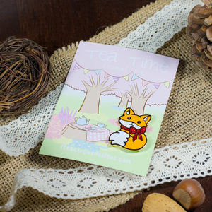 Tea Time Fox Pin - Flea Circus Designs