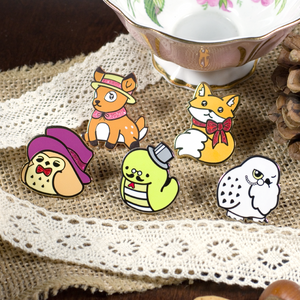 Tea Time Five Pin Set - Flea Circus Designs