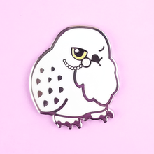Tea Time Snowy Owl Pin - Flea Circus Designs