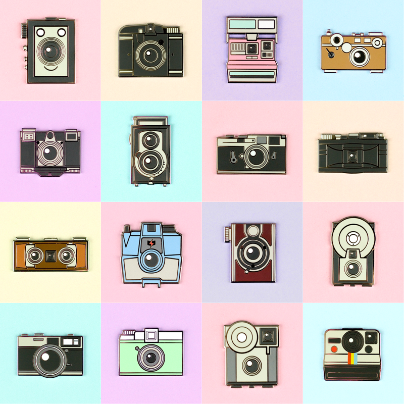 Vintage Cameras Pin Set - Flea Circus Designs