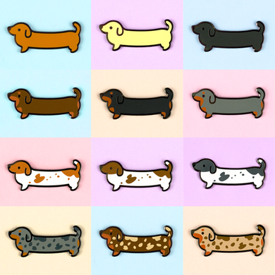 Weenie Dog Pin Set - Short Coats - Flea Circus Designs