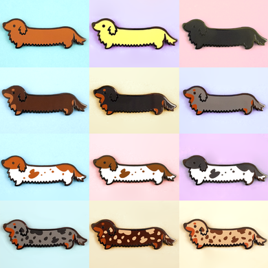 Weenie Dog Pin Set - Long Coats - Flea Circus Designs