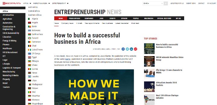 HOW WE MADE IT IN AFRICA: THE BOOK profiled on Bizcommunity – How we