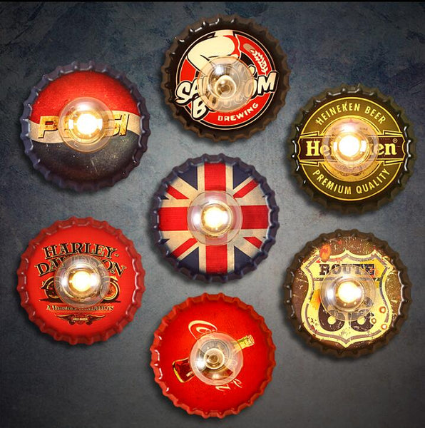 Decorative Beer Bottle Cap Vintage Retro Iron Lighted Sign (multiple designs available)