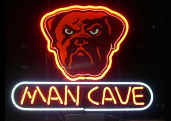 """DAWGS MAN CAVE"" Logo College Sports Neon Sign - Handcrafted Glass Display"