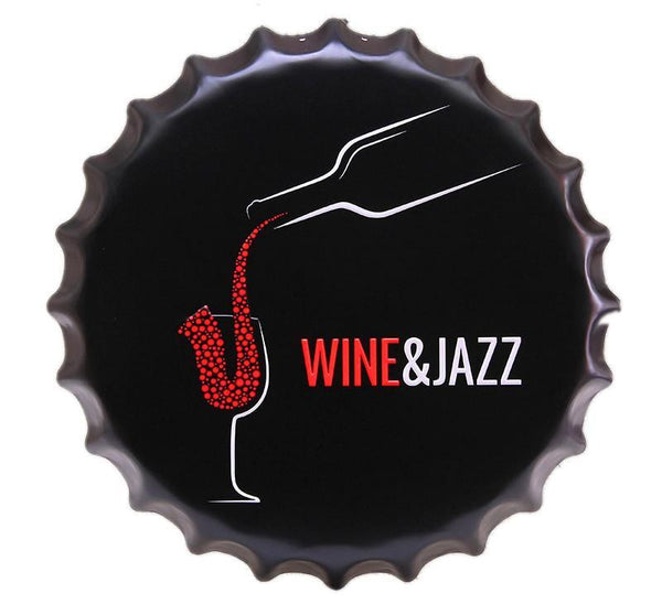WINE&JAZZ Decorative Beer Bottle Cap Vintage Tin Metal Sign