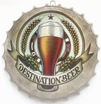 DESTINATION BEER Decorative Beer Bottle Cap Vintage Iron Sign