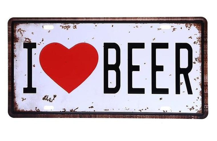 I LOVE BEER CAR PLATE Vintage Tin Sign Bar pub home Wall Decor Retro Metal Art Poster