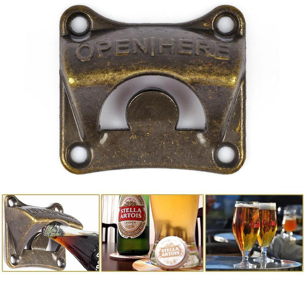 Vintage Antique Iron Wall Mounted Bar Beer Glass Bottle Opener - accessory (1 piece)