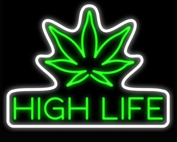 """Weed High Life"" Neon Sign - Handcrafted Glass Display"
