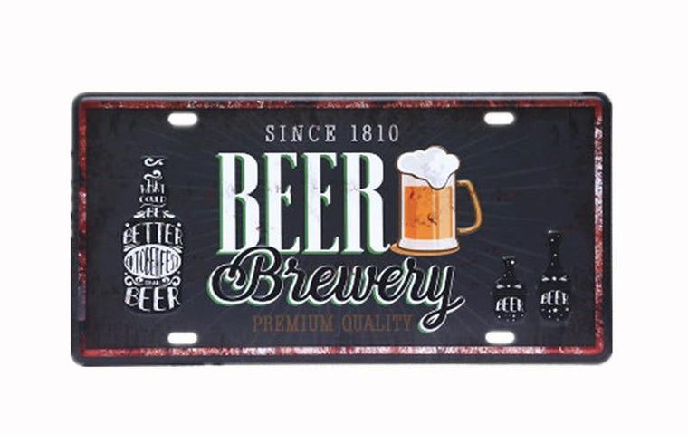 BEER BIEWEIY  License CAR PLATE Vintage Tin Sign Bar pub home Wall Decor Retro Metal Art Poster
