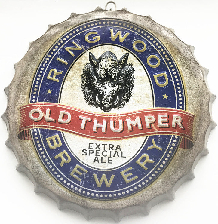 35cm Ring wood Old Thumper Brewery Round BEER Bottle cap Vintage Tin Sign Bar pub home Wall Decor Retro Metal Art Poster Plaque