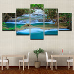 """Landscape Waterfall Forest Trees Lake"" Painting Multi Panel Modular Wall Art HD Printed Canvas"