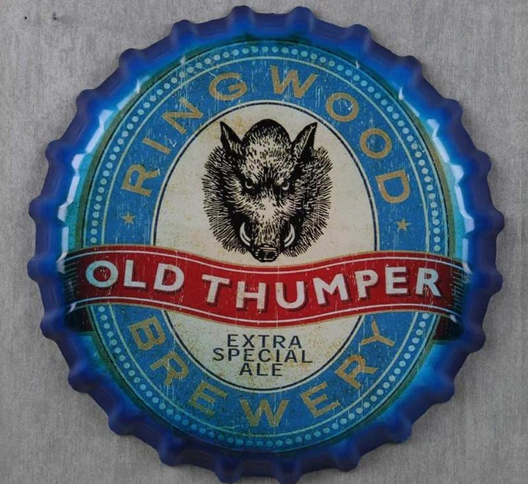 35cm Bottle Cap Old Thumper Round Bottle Cap Tin Signs Art Wall Decor House Cafe Bar Vintage Metal Signs Beer Cap