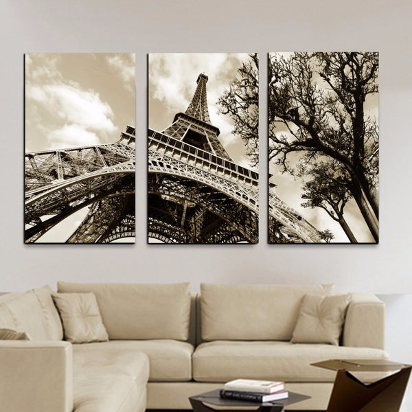 """Eiffel Tower"" Painting Multi Panel Modular Wall Art HD Printed Canvas"