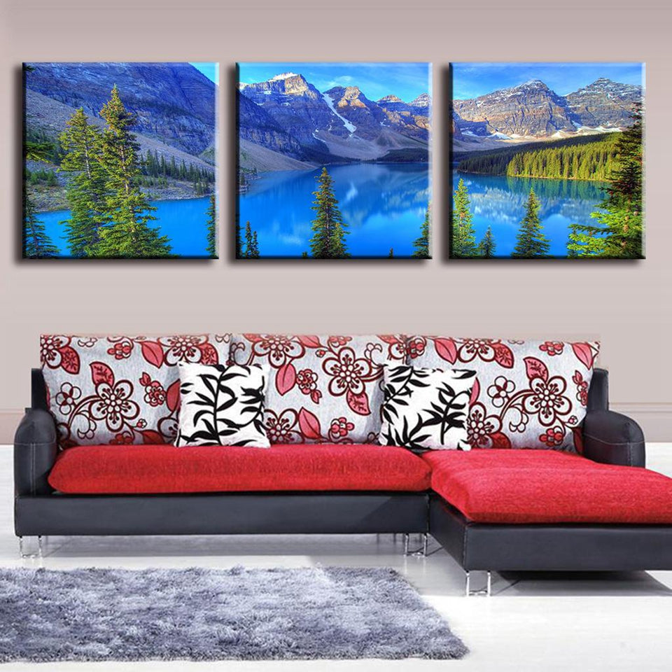 """Alps Mountains Blue Lakes"" Painting Multi Panel Modular Wall Art HD Printed Canvas"