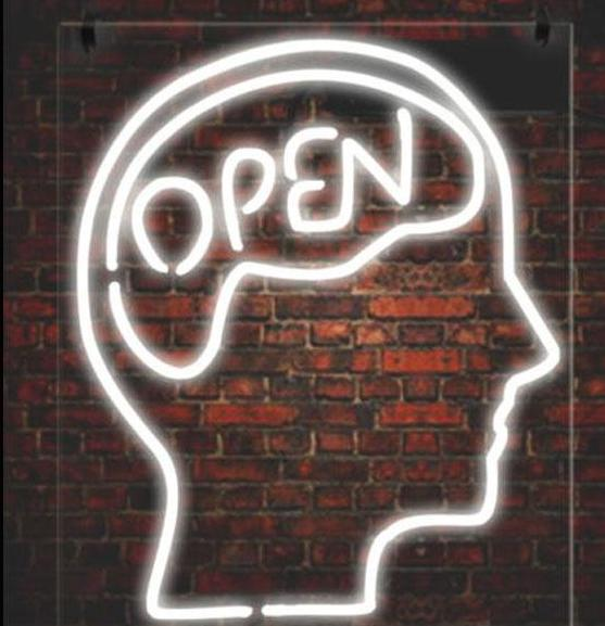 """Open Mind"" Neon Sign - Handcrafted Glass Display"
