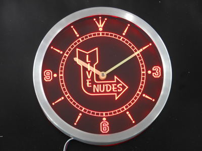 """Classic Live Nude Arrow"" Pub Neon Sign LED Wall Clock"
