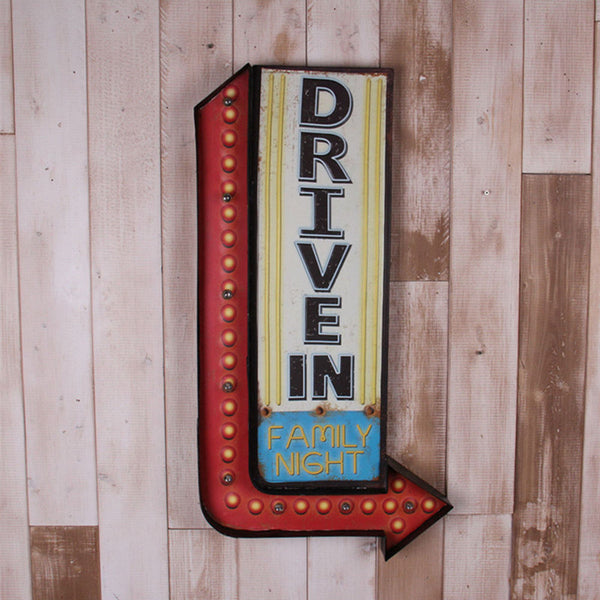 """Drive In Family Night"" Retro Vintage Iron Metal Lighted Sign"