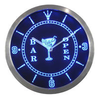 """Cocktails Bar Open"" Pub Neon Sign LED Wall Clock"