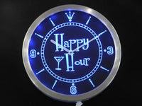"""Happy Hour"" Pub Neon Sign LED Wall Clock"