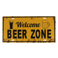 WELCOME BEER ZONE Vintage Tin Metal License Plate