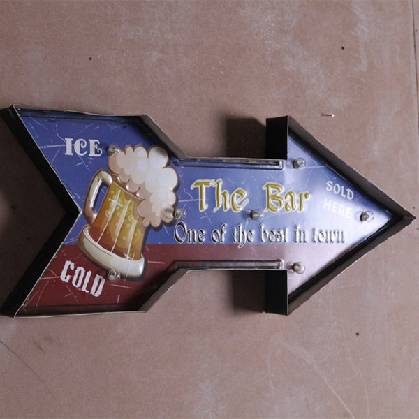 """Ice Cold Beer Bar This Way"" Retro Vintage Tin Metal Lighted Sign"