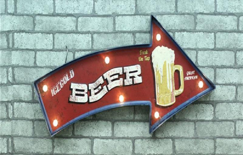 """Beer This Way"" Retro Vintage Tin Metal Lighted Sign (61.5x23cm)"