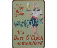 """Happy Hour Lounge"" Vintage Tin Metal Sign"
