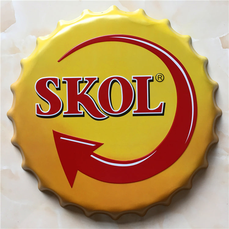 35cm Skol Vintage Tin Signs Bar Lounge Culb Wall Decor Metal Beer Bottle Caps Poster Plate Signs for Bar