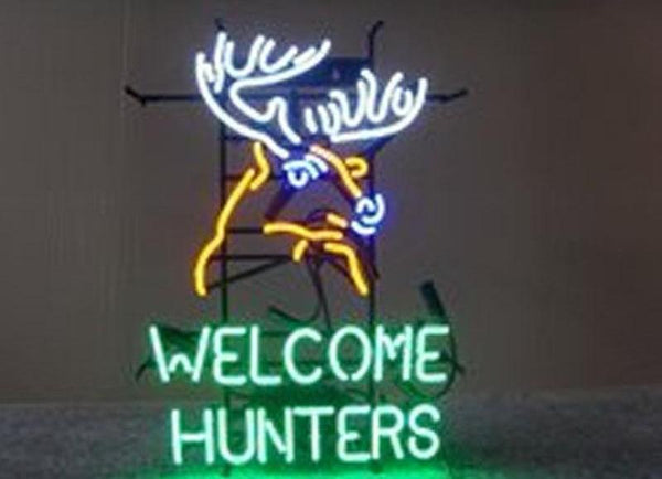 """Welcome Hunters"" Neon Sign - Handcrafted Glass Display (24x20"")"