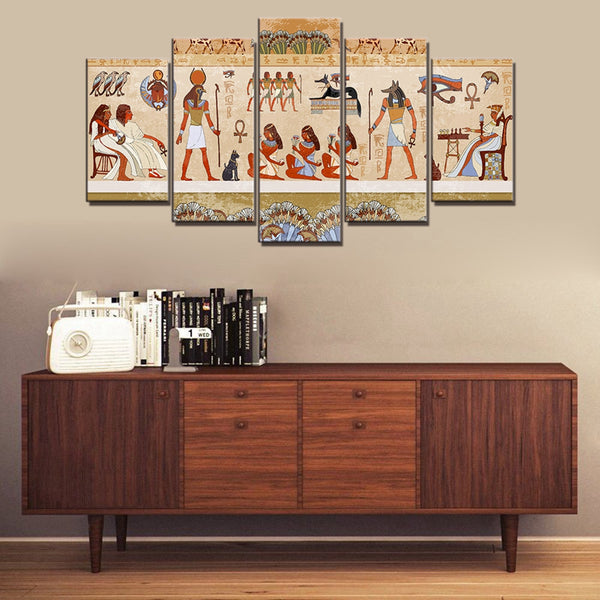 """Ancient Egyptian Mural"" Painting Multi Panel Modular Wall Art HD Printed Canvas"