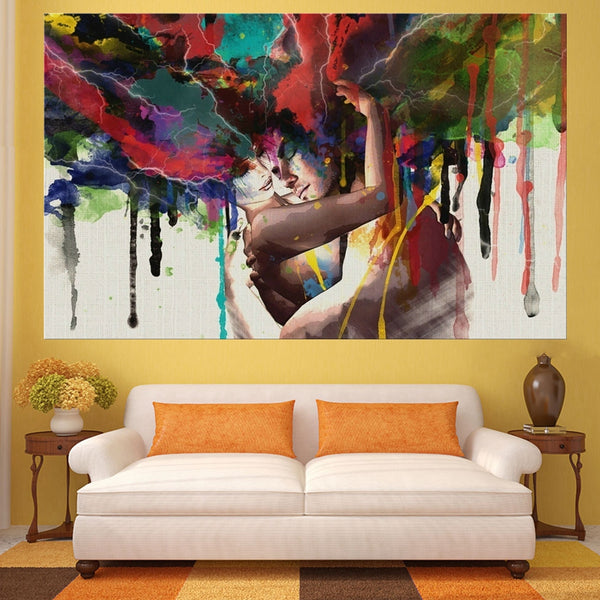 """Graffiti Lovers Couple"" Painting Wall Art HD Printed Canvas"