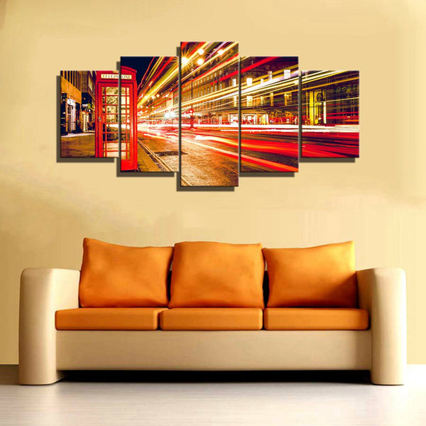 """Red Telephone Booth Traffic Light Cityscape"" Painting Multi Panel Modular Wall Art HD Printed Canvas"