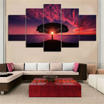 """Large Tree Under Sunset Glow Landscape"" Painting Multi Panel Modular Wall Art HD Printed Canvas"