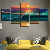 """Sea Wave Sunset"" Painting Multi Panel Modular Wall Art HD Printed Canvas"