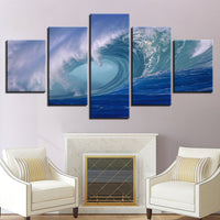 """Blue Ocean Sea Rolling Waves Seascape"" Painting Multi Panel Modular Wall Art HD Printed Canvas"